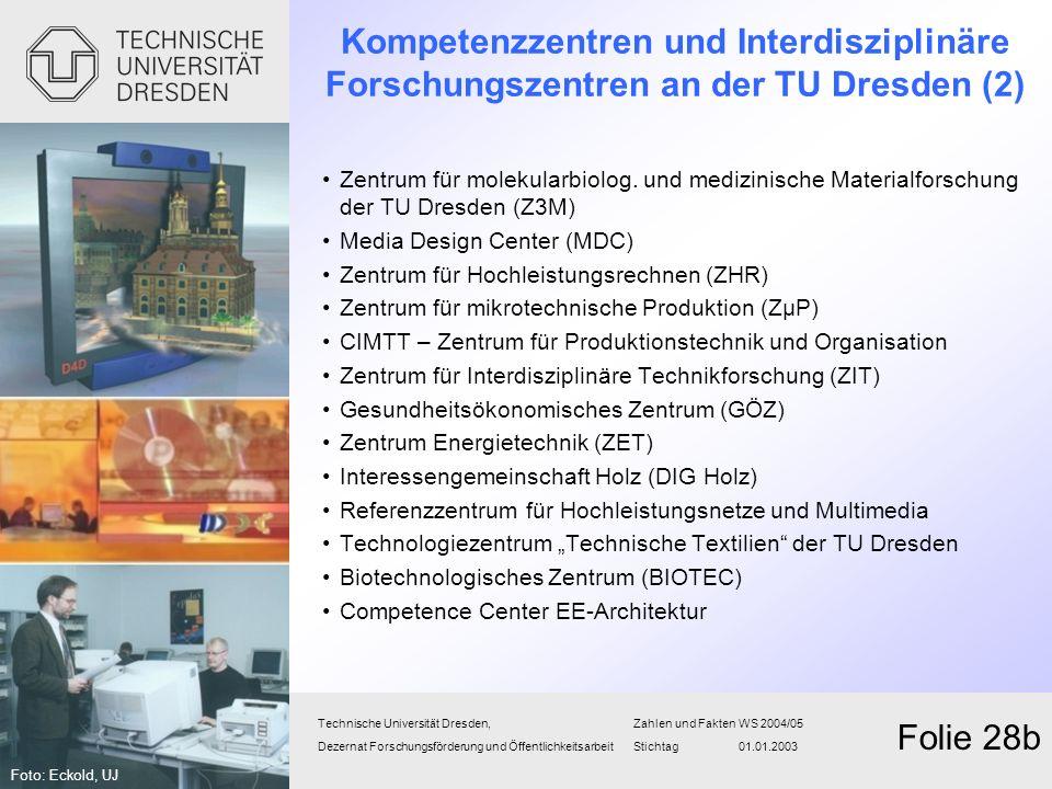 Kompetenzzentren und Interdisziplinäre Forschungszentren an der TU Dresden (2)