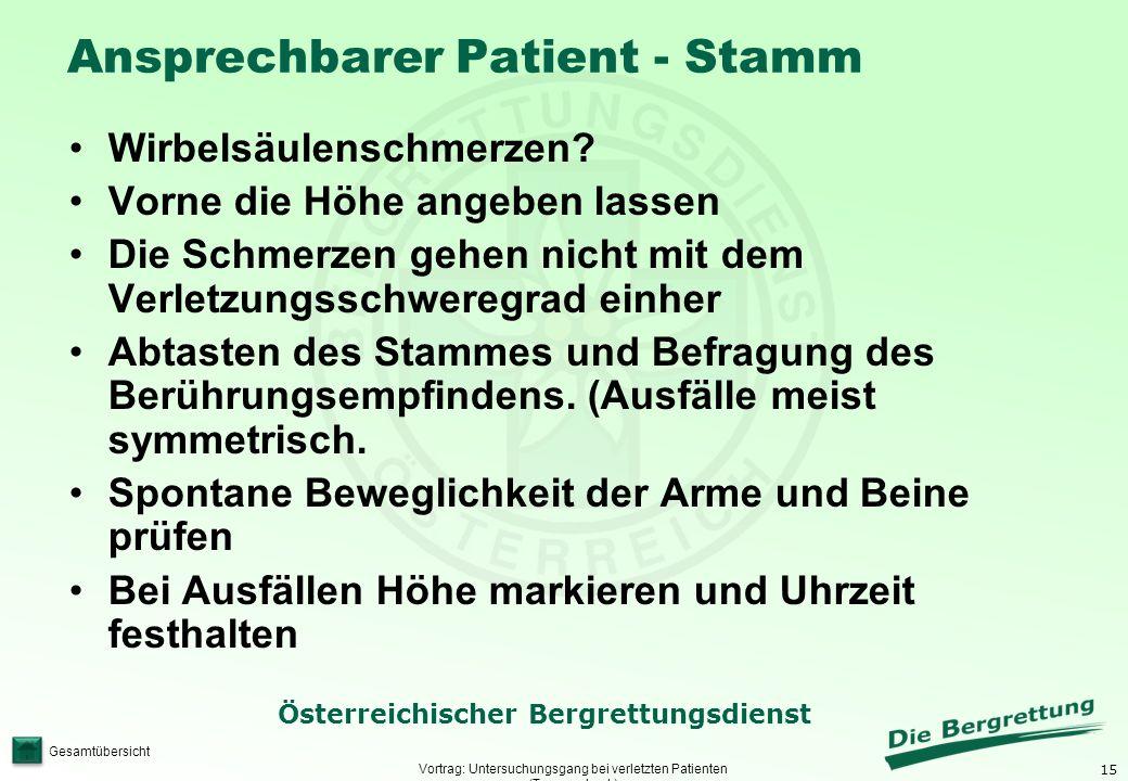 Ansprechbarer Patient - Stamm