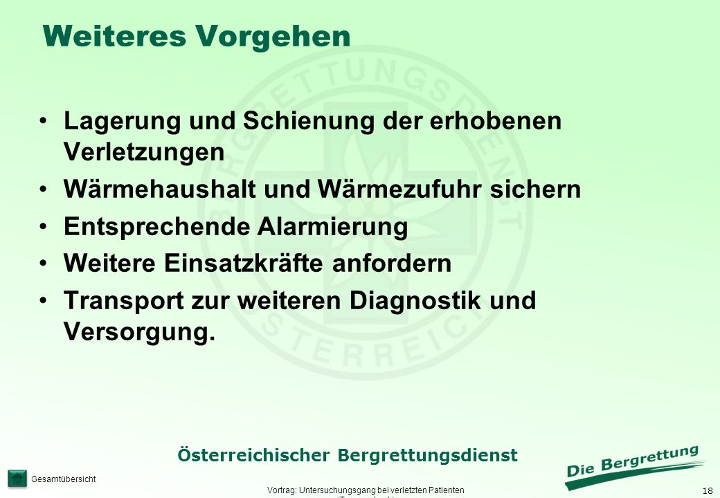 Vortrag: Untersuchungsgang bei verletzten Patienten (Traumacheck)