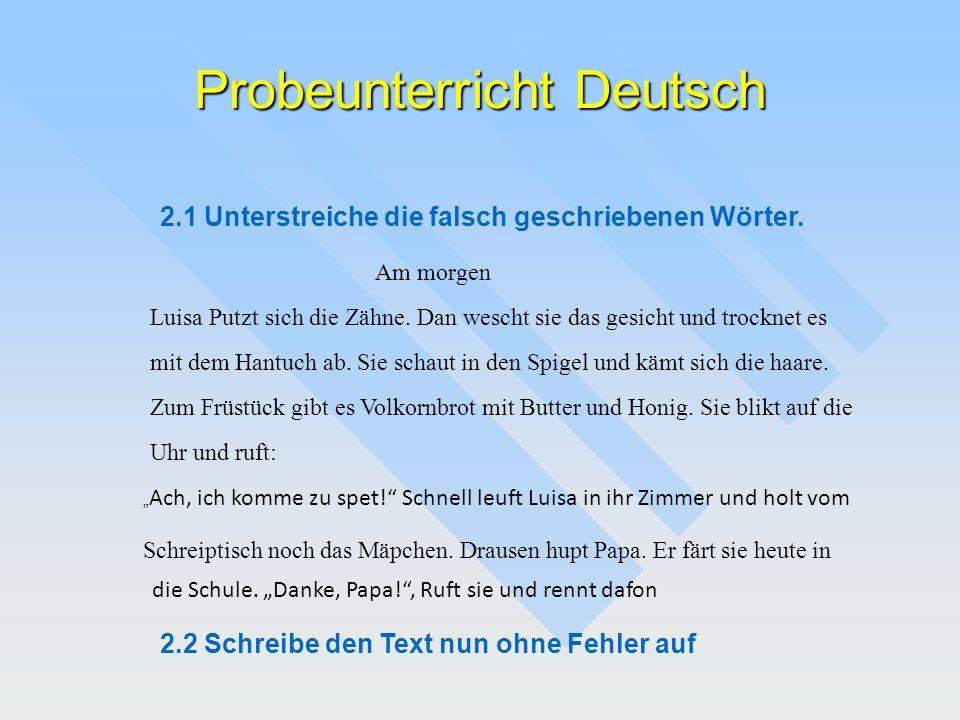 Probeunterricht Deutsch