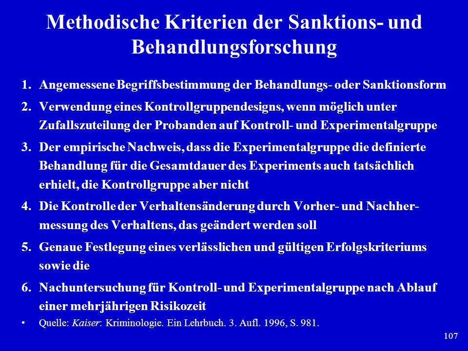 Methodische Kriterien der Sanktions- und Behandlungsforschung