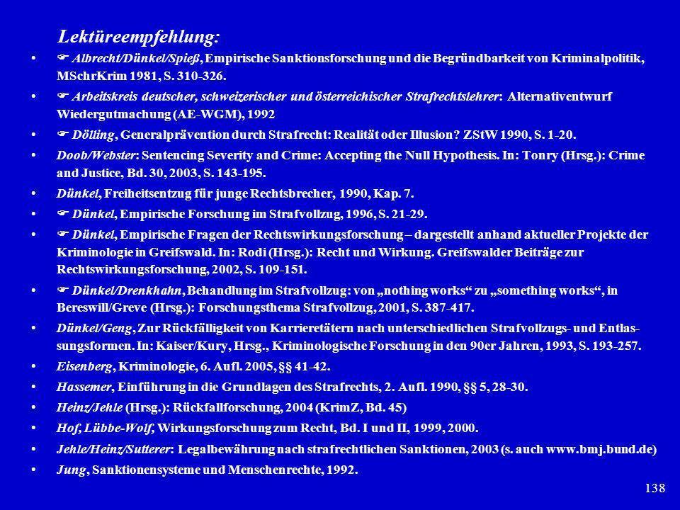 Lektüreempfehlung:  Albrecht/Dünkel/Spieß, Empirische Sanktionsforschung und die Begründbarkeit von Kriminalpolitik, MSchrKrim 1981, S. 310-326.