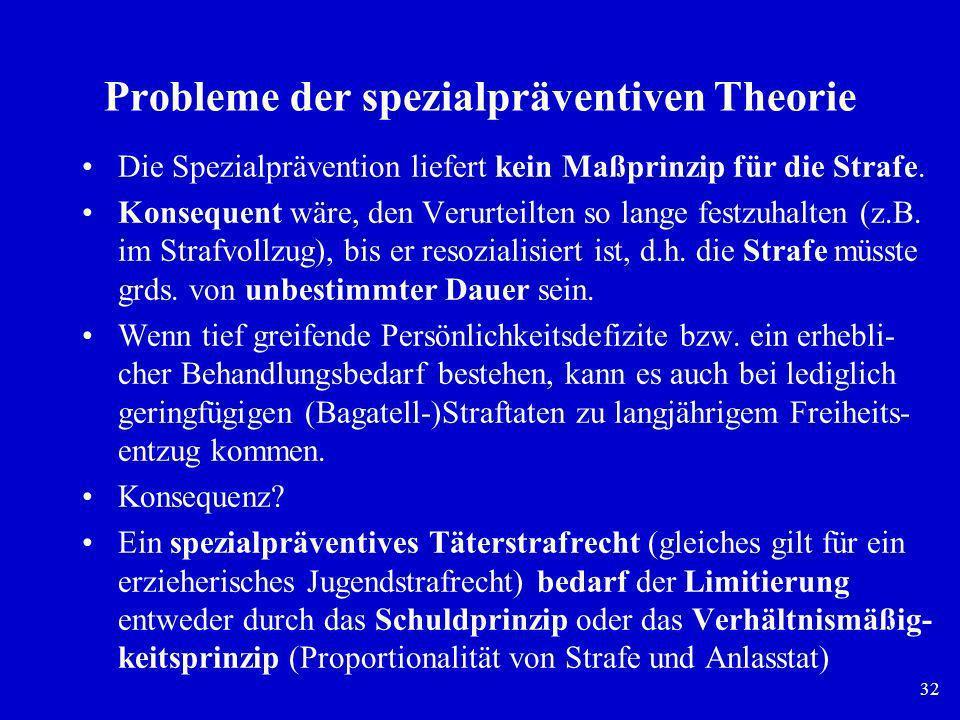 Probleme der spezialpräventiven Theorie