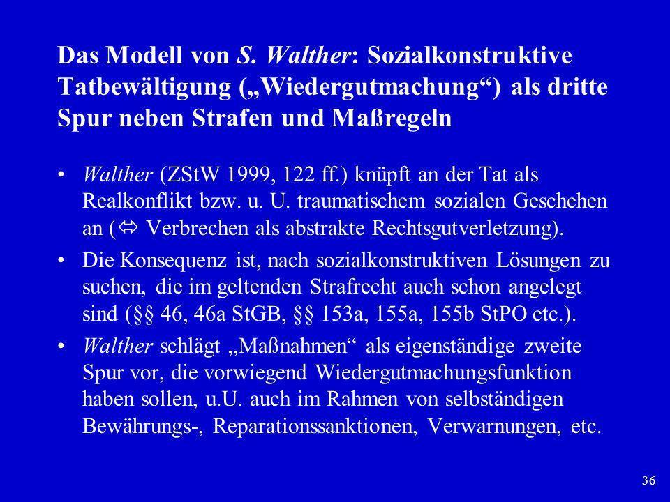 """Das Modell von S. Walther: Sozialkonstruktive Tatbewältigung (""""Wiedergutmachung ) als dritte Spur neben Strafen und Maßregeln"""