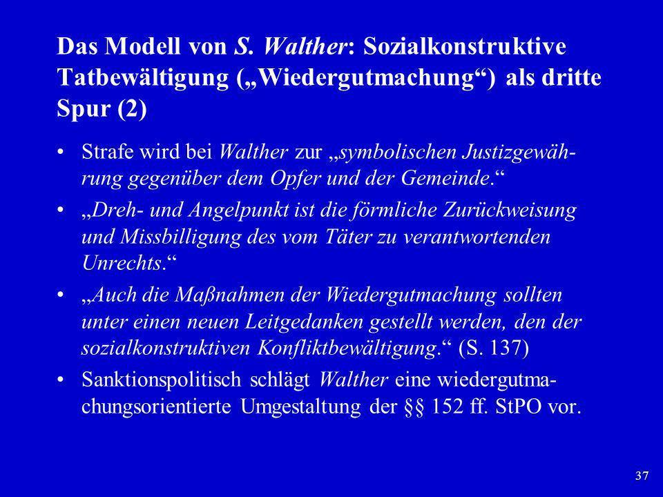 """Das Modell von S. Walther: Sozialkonstruktive Tatbewältigung (""""Wiedergutmachung ) als dritte Spur (2)"""