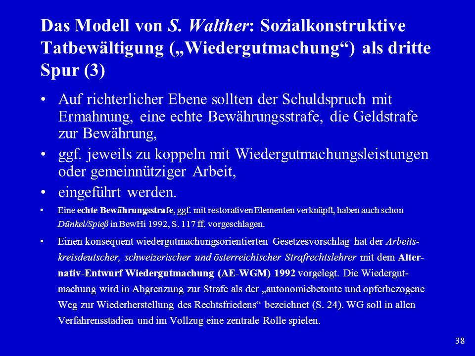 """Das Modell von S. Walther: Sozialkonstruktive Tatbewältigung (""""Wiedergutmachung ) als dritte Spur (3)"""