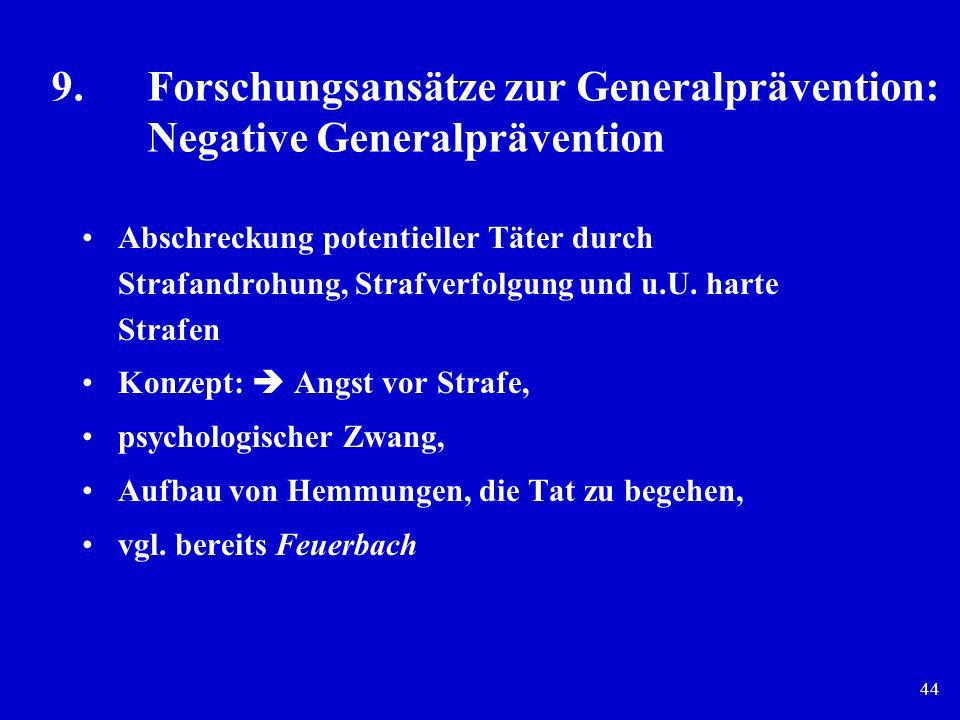 9. Forschungsansätze zur Generalprävention: Negative Generalprävention