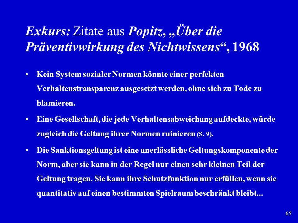 """Exkurs: Zitate aus Popitz, """"Über die Präventivwirkung des Nichtwissens , 1968"""