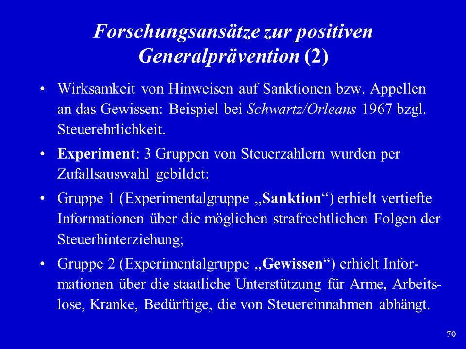 Forschungsansätze zur positiven Generalprävention (2)