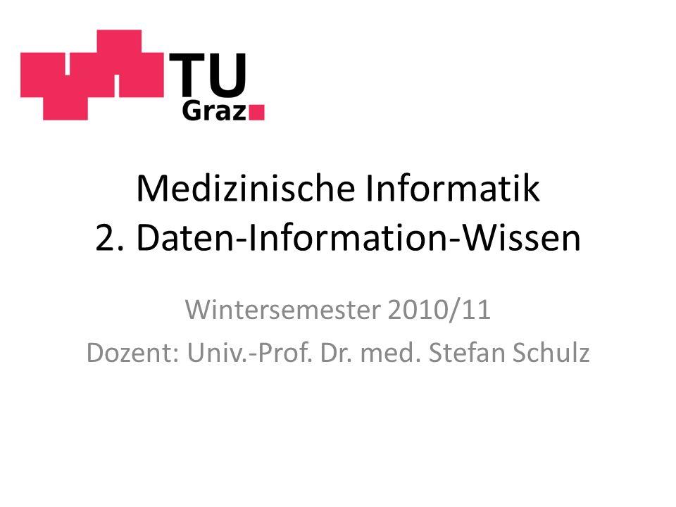 Medizinische Informatik 2. Daten-Information-Wissen