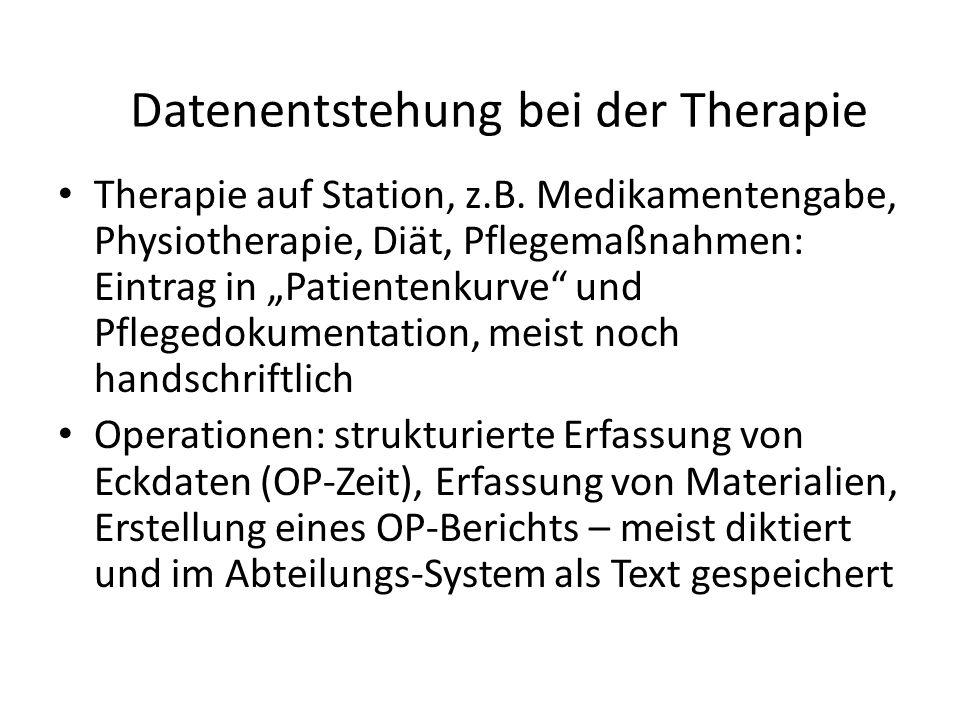 Datenentstehung bei der Therapie