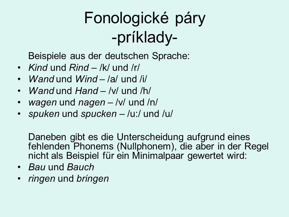 Fonologické páry -príklady-