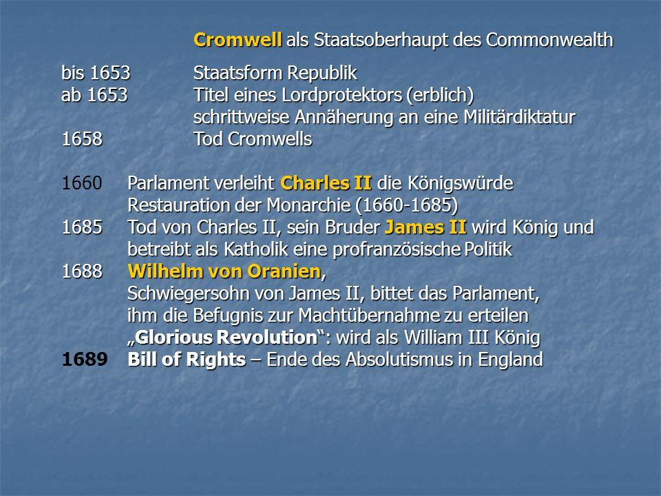 Cromwell als Staatsoberhaupt des Commonwealth