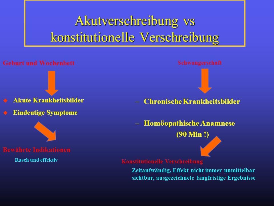 Akutverschreibung vs konstitutionelle Verschreibung