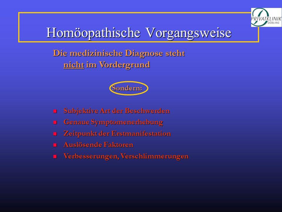 Homöopathische Vorgangsweise