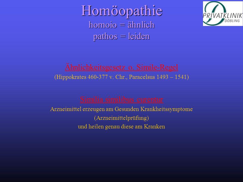 Homöopathie homoio = ähnlich pathos = leiden