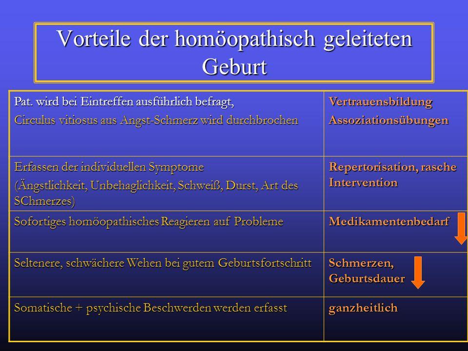 Vorteile der homöopathisch geleiteten Geburt