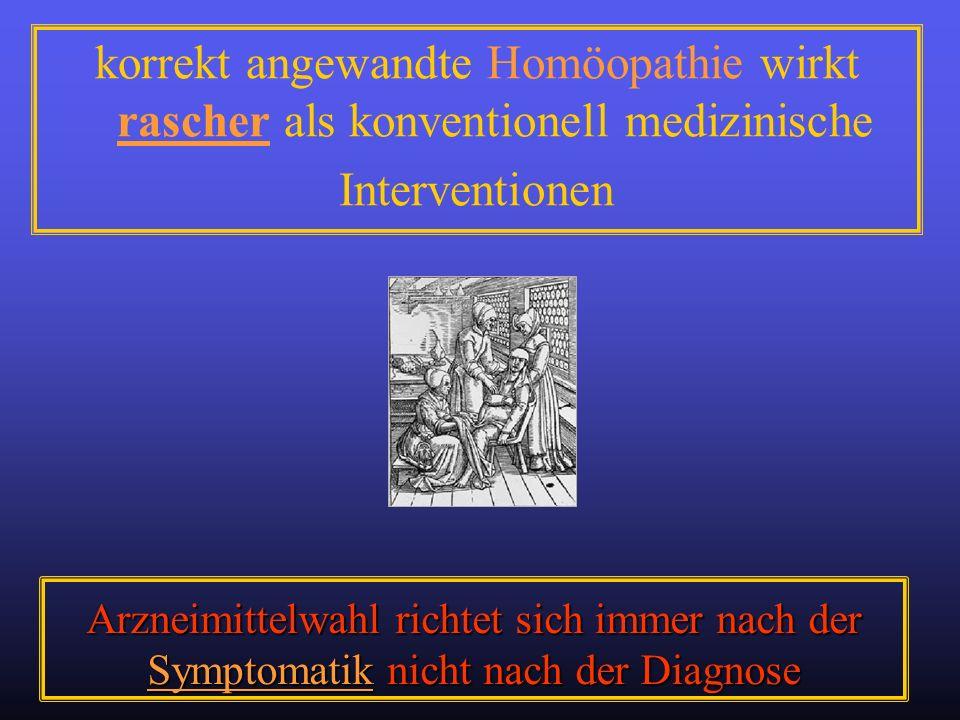 korrekt angewandte Homöopathie wirkt rascher als konventionell medizinische