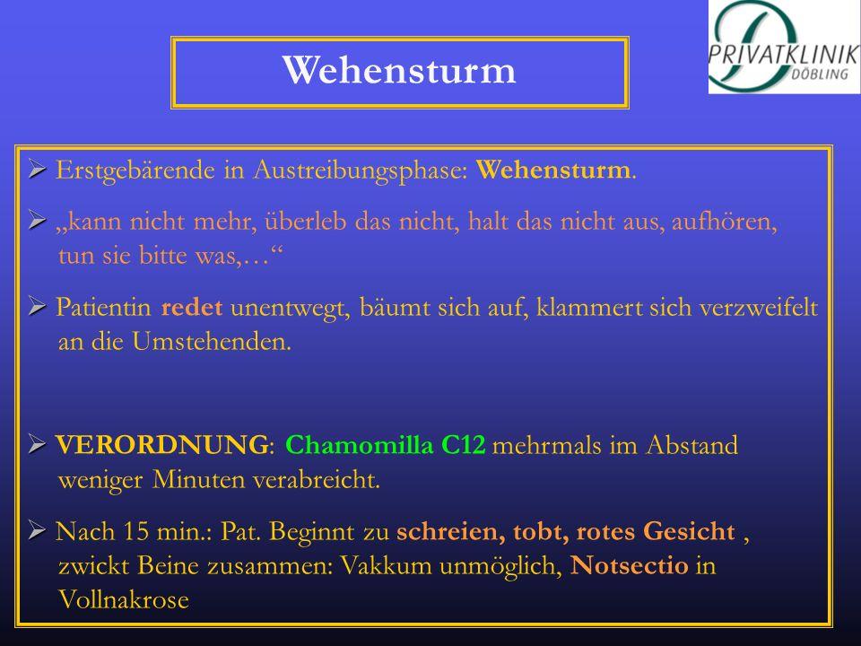 Wehensturm  Erstgebärende in Austreibungsphase: Wehensturm.