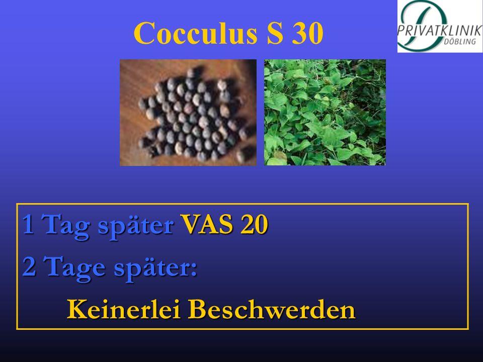 Cocculus S 30 1 Tag später VAS 20 2 Tage später: Keinerlei Beschwerden