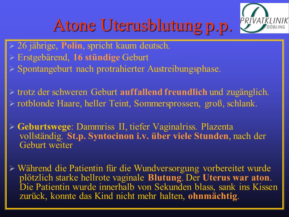 Atone Uterusblutung p.p.