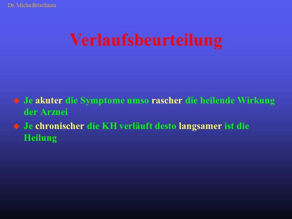 Dr. Micha Bitschnau Verlaufsbeurteilung. Je akuter die Symptome umso rascher die heilende Wirkung der Arznei.