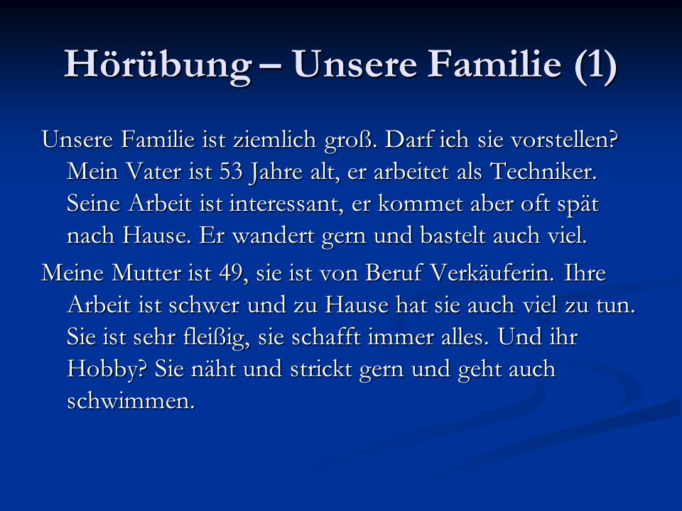 Hörübung – Unsere Familie (1)