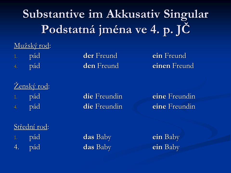 Substantive im Akkusativ Singular Podstatná jména ve 4. p. JČ