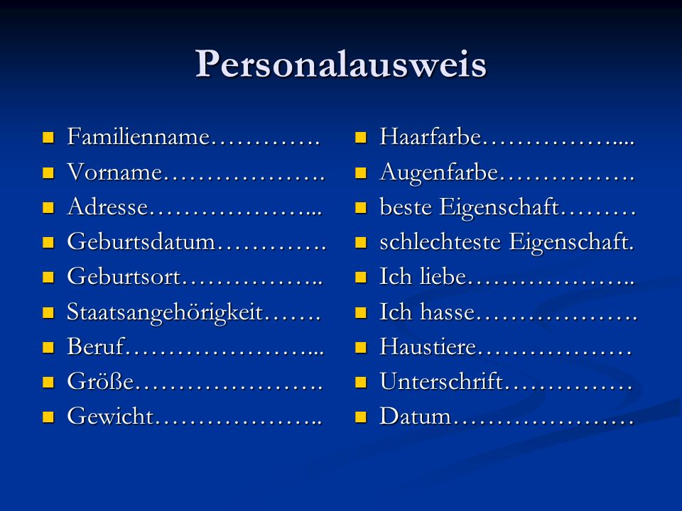 Personalausweis Familienname…………. Vorname………………. Adresse………………...