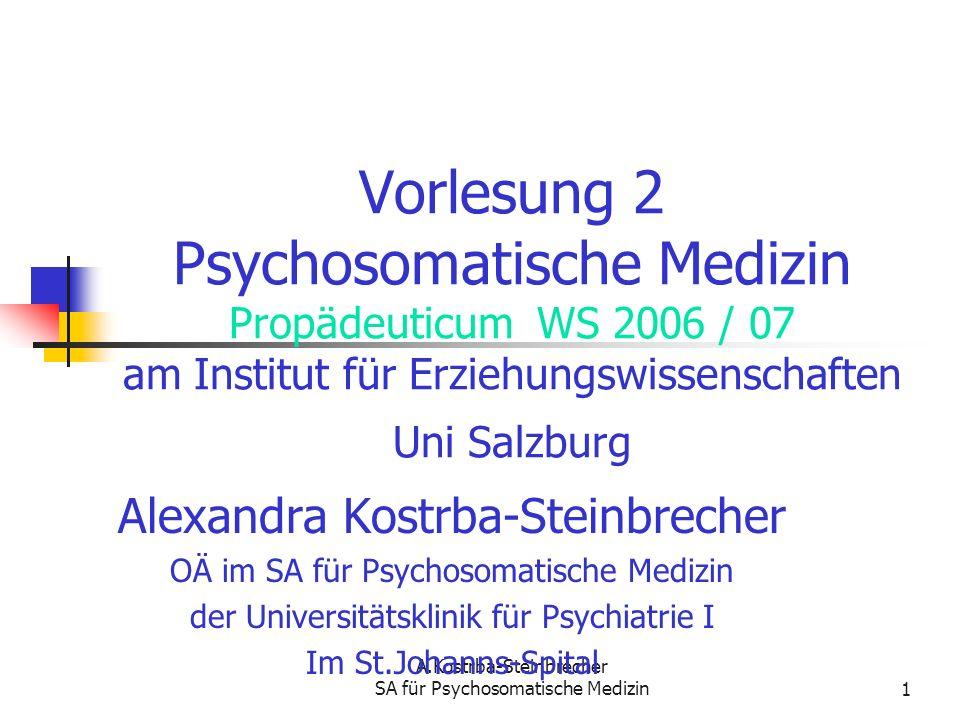 Vorlesung 2 Psychosomatische Medizin Propädeuticum WS 2006 / 07 am Institut für Erziehungswissenschaften Uni Salzburg