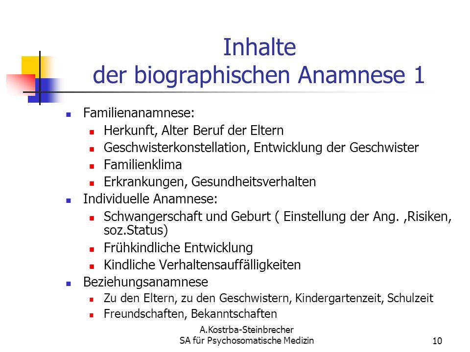 Inhalte der biographischen Anamnese 1