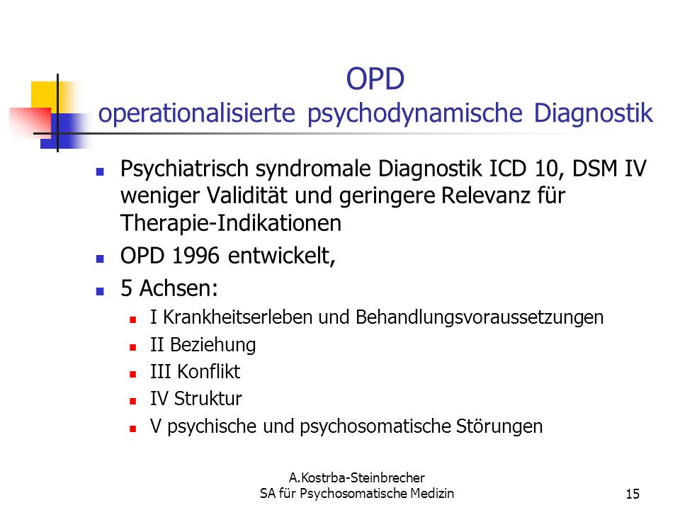 OPD operationalisierte psychodynamische Diagnostik
