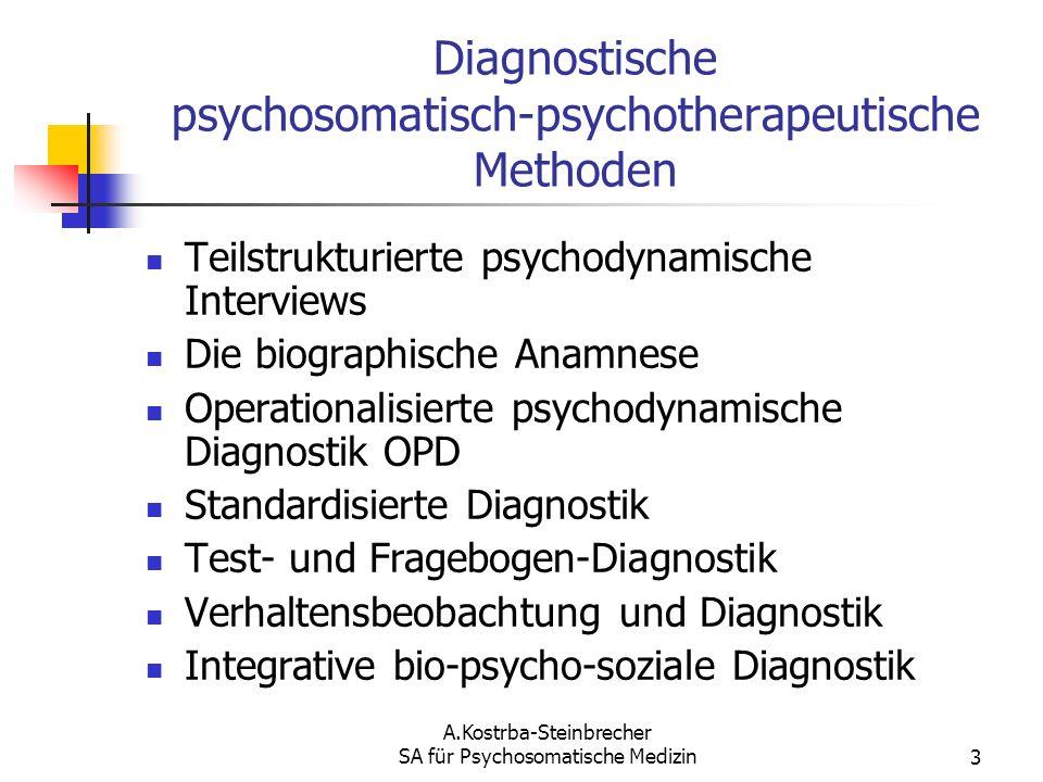Diagnostische psychosomatisch-psychotherapeutische Methoden