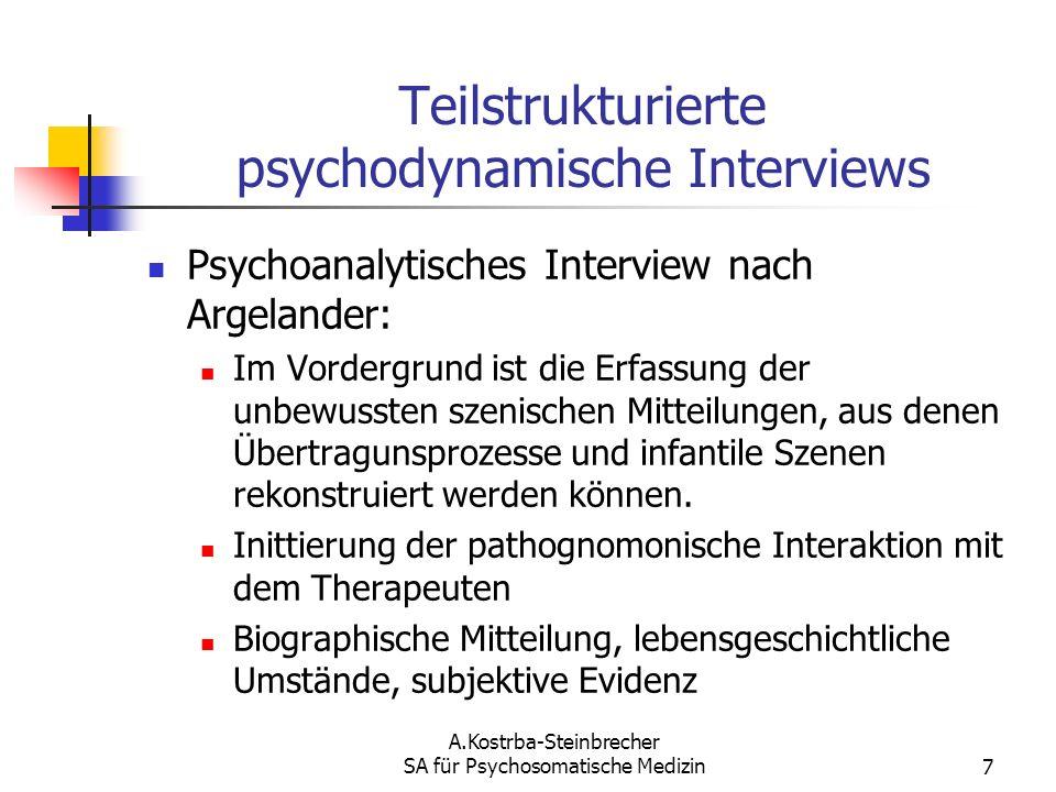 Teilstrukturierte psychodynamische Interviews
