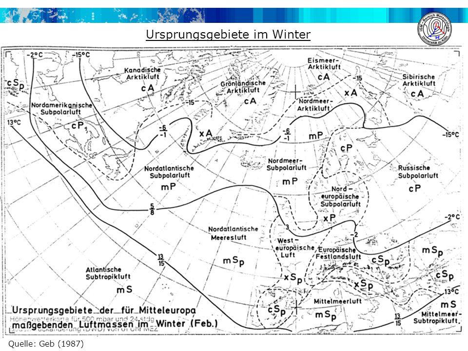 Ursprungsgebiete im Winter
