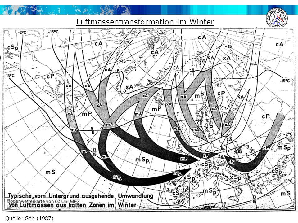 Luftmassentransformation im Winter