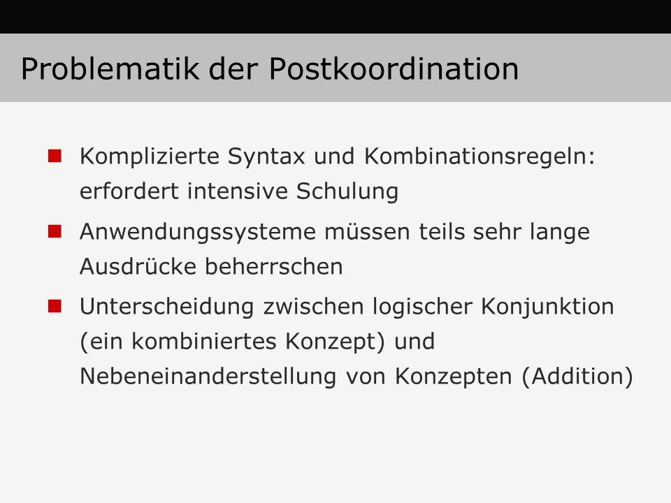 Problematik der Postkoordination
