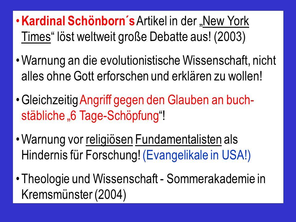 """Kardinal Schönborn´s Artikel in der """"New York Times löst weltweit große Debatte aus! (2003)"""