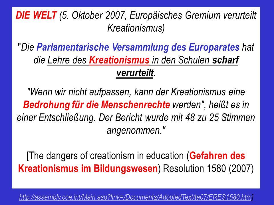 DIE WELT (5. Oktober 2007, Europäisches Gremium verurteilt Kreationismus)