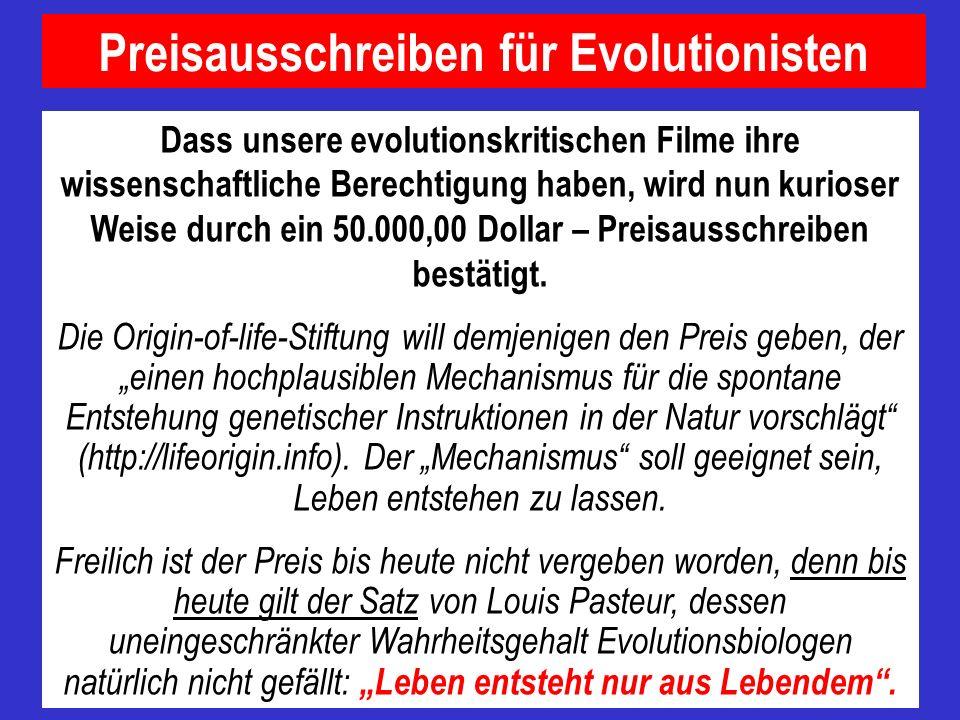 Preisausschreiben für Evolutionisten