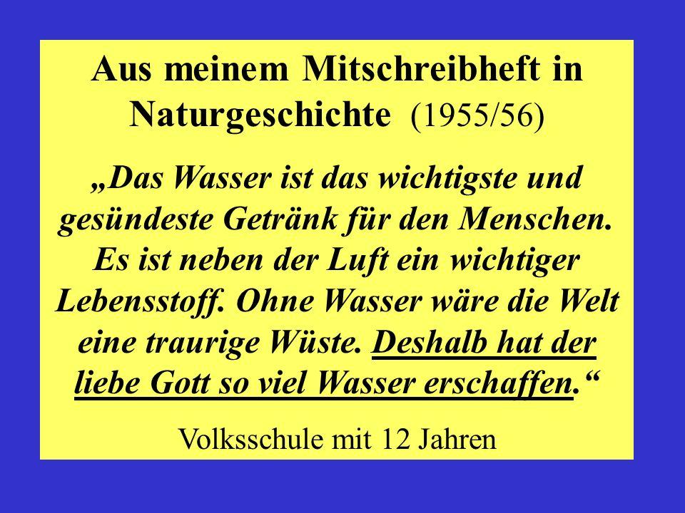 Aus meinem Mitschreibheft in Naturgeschichte (1955/56)