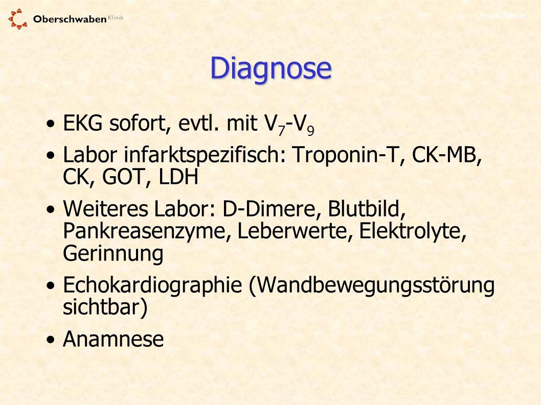 Diagnose EKG sofort, evtl. mit V7-V9