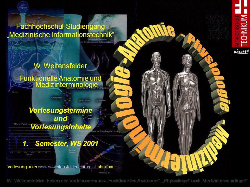 Vorlesungstermine und Vorlesungsinhalte Semester, WS 2001