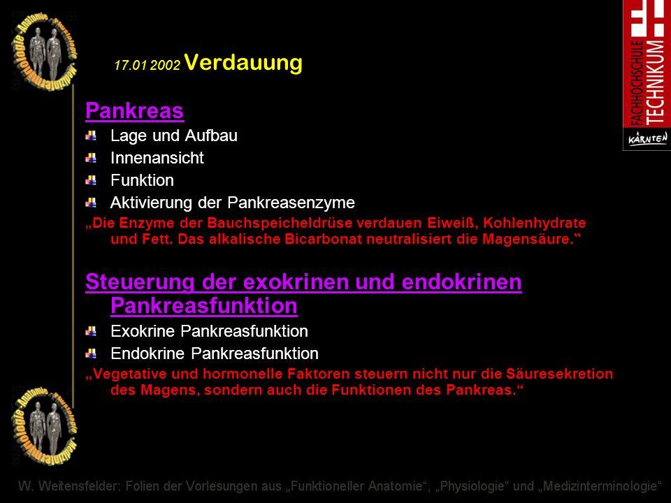 Steuerung der exokrinen und endokrinen Pankreasfunktion