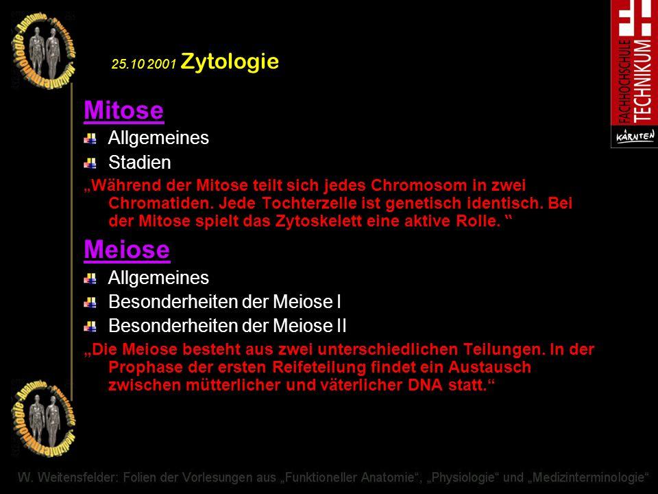 Mitose Meiose Allgemeines Stadien Besonderheiten der Meiose I