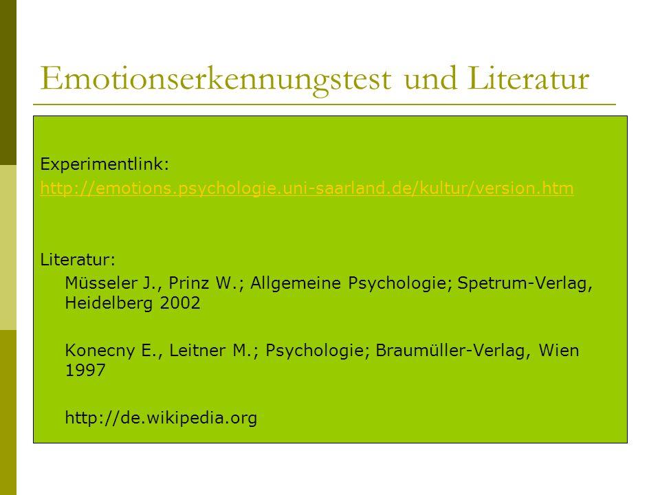 Emotionserkennungstest und Literatur