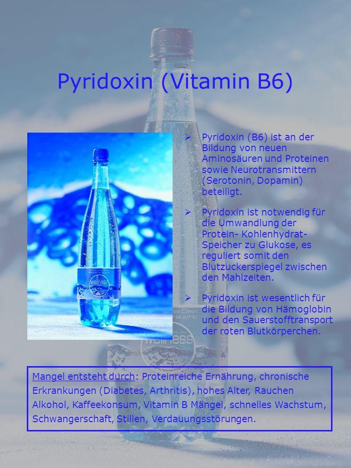 Pyridoxin (Vitamin B6) Pyridoxin (B6) ist an der Bildung von neuen Aminosäuren und Proteinen sowie Neurotransmittern (Serotonin, Dopamin) beteiligt.
