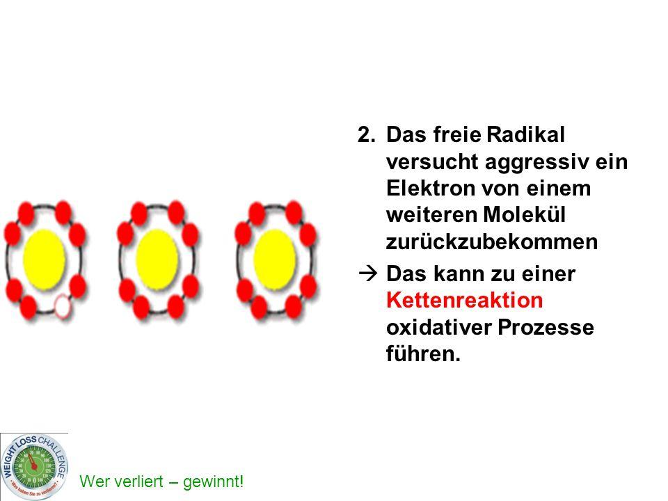 2. Das freie Radikal versucht aggressiv ein Elektron von einem weiteren Molekül zurückzubekommen