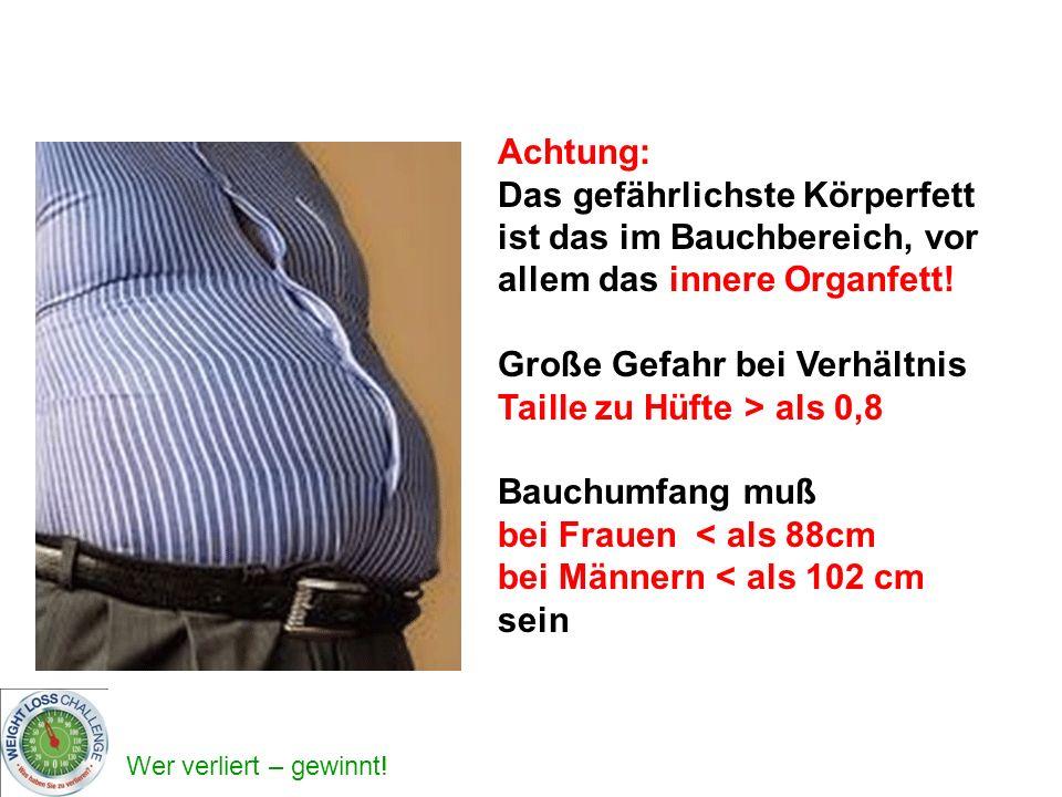 Achtung: Das gefährlichste Körperfett ist das im Bauchbereich, vor allem das innere Organfett! Große Gefahr bei Verhältnis Taille zu Hüfte > als 0,8.