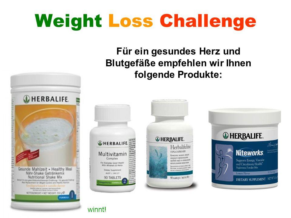 Weight Loss Challenge Für ein gesundes Herz und Blutgefäße empfehlen wir Ihnen folgende Produkte: